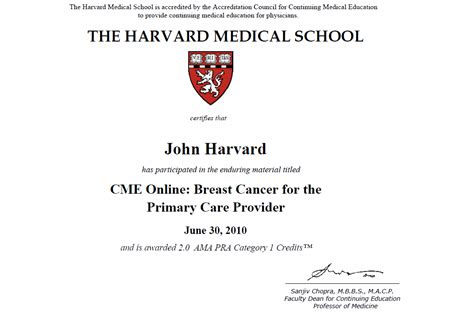 Harvard Medical Degree Certificate