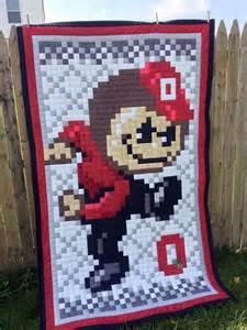 osu ohio state digital 8 bit brutus buckeye quilt made to