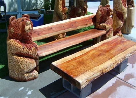 bears bench bear carvings