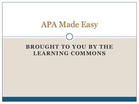 apa format made easy apa made easy