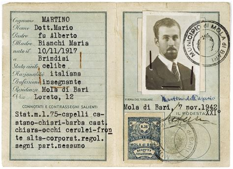 printable holocaust id cards false identification card issued to the italian jew