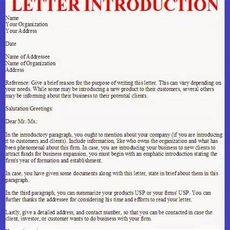 Proper Business Letter Introduction proper business letter of introduction letter format writing