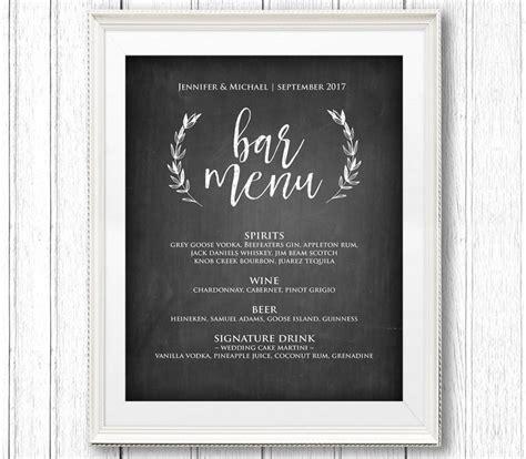wedding drink menu template free wedding drink menu template hnc
