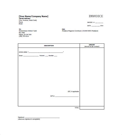 Freelance Templates Freelancer Invoice Template 13 Free Word Excel Pdf
