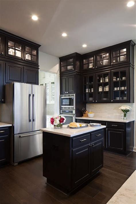 Cabinet Doors To Go Black Kitchen Cabinets With Glass Doors Quicua