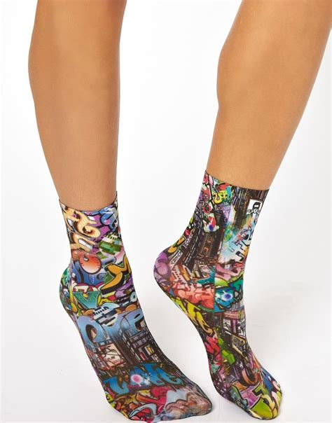 asos comic print ankle socks lyst