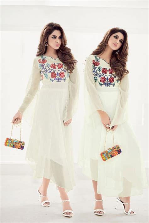 black and white kurti patterns festive wear embroidered designer off white kurti in