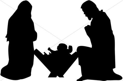 mary joseph and baby jesus silhouette nativity clipart