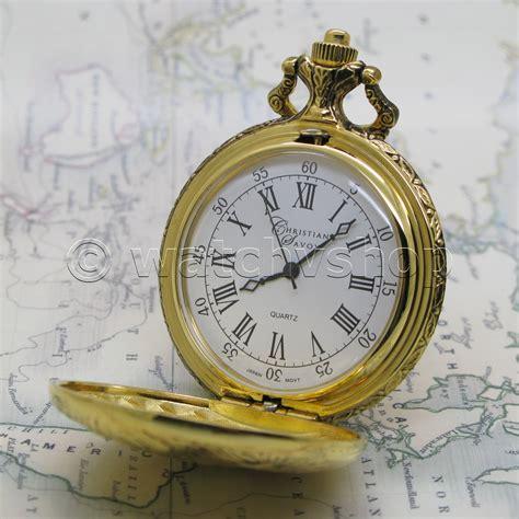 gold antique mens quartz pocket design with fob