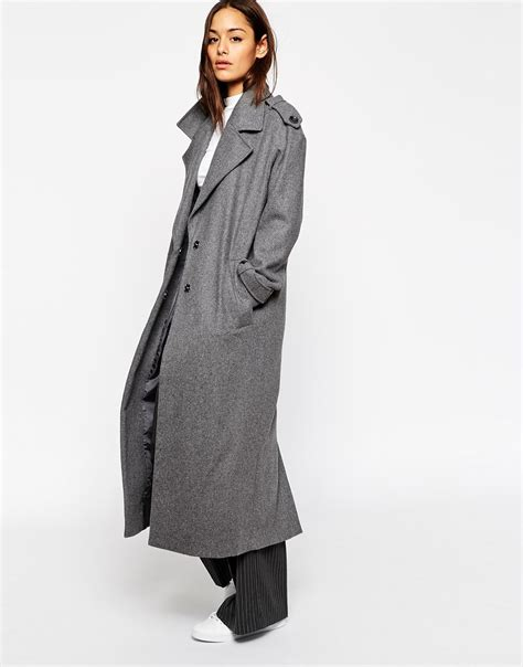 Maxi Coat asos coat with detail in maxi length at asos