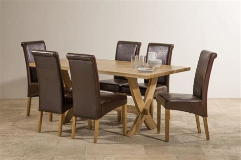 solid oak dining table and 6 leather chairs crossley solid oak dining set 6ft table with 6 chairs