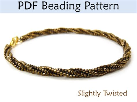 slightly twisted herringbone bracelet necklace beading