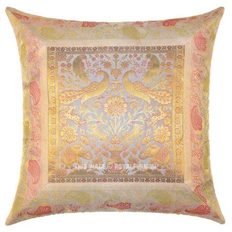 Silk Decorative Pillows White Birds Elephants Decorative Silk Throw Pillow