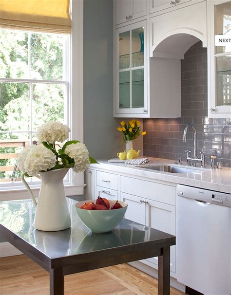white kitchen cabinets with grey walls gray subway tile backsplash contemporary kitchen