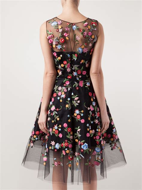 Embroidered Dress lyst oscar de la renta floral embroidered tulle dress in