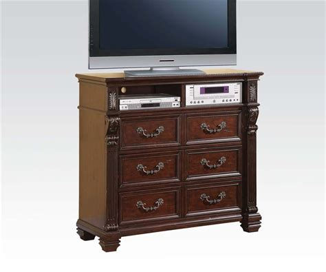acme 5 pc hennessy collection cherry brown finish wood vevila 6 piece bedroom set in cherry brown finish by acme