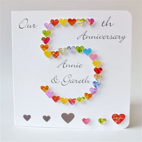 5th wedding anniversary card personalised fifth anniversary card handmade 3d husband card