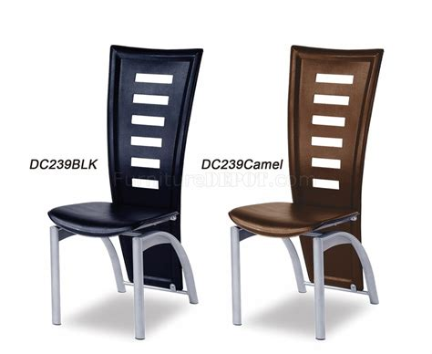set of 4 black or camel leathermatch dining chairs