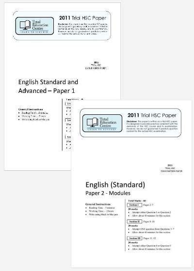 2011 Trial B Hsc English Standard Papers 1 Amp 2 Total