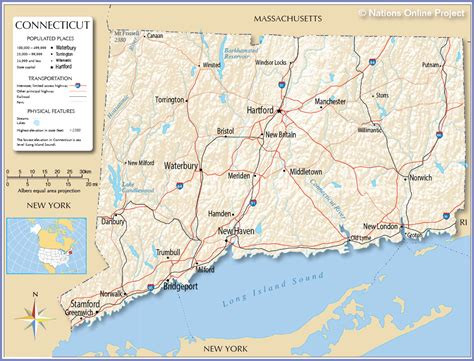 map usa connecticut pin detailed connecticut map ct terrain on