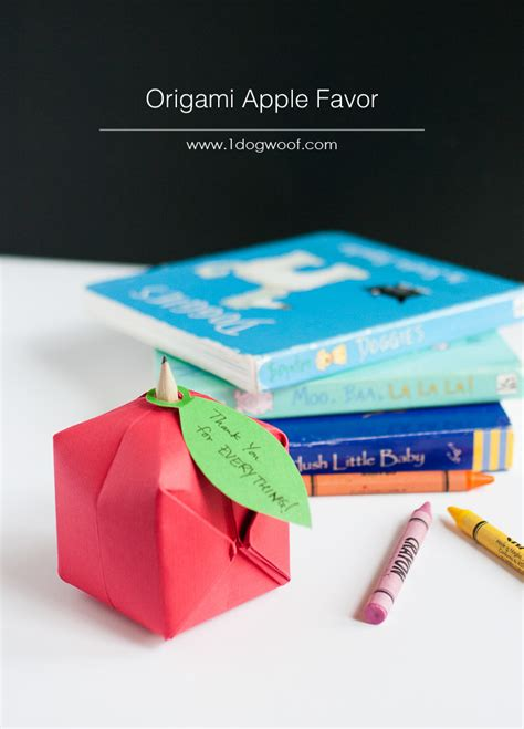 Origami Apple - origami apple favor one woof
