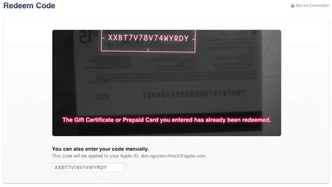 Apple Store Redeem Gift Card - access denied
