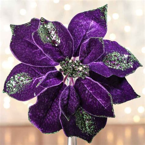 Sparkling Velvet Artificial Poinsettia Stem   Holiday