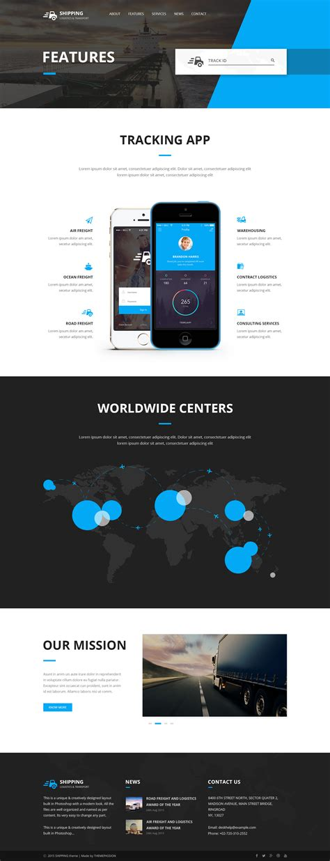 shipping logistics transport html template by