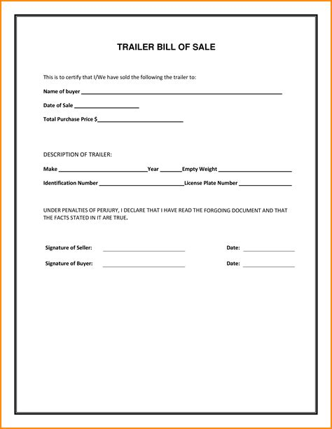 texas bill of sale form 4 texas trailer bill of sale lease template