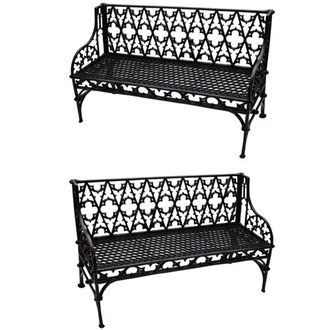 iron benches for outdoor seating pair of cast iron gothic garden benches gardens