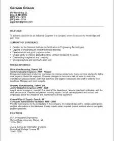 Industrial Engineering Resume Exles engineering resume exles