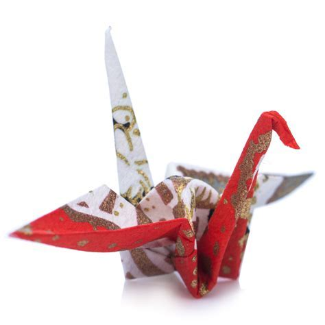 Pack 10 Red and White Origami Crane Birds