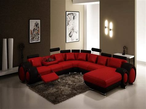 Brown Leather Chaise Lounge Chair Living Room Red Black Leather Sectional Sofa With