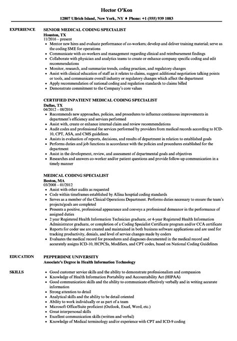 medical coding resume samples inssite