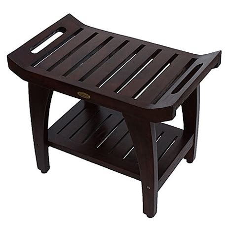 24 inch bench buy tranquility 174 24 inch teak bench with shelf and arms from bed bath beyond