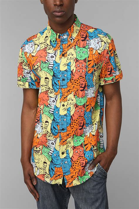 crazy pattern button up shirts urban outfitters shirts for all my friends weird kitty