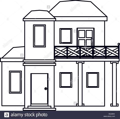 house outline house with balcony roof garden outline stock vector art
