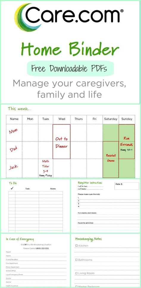 printable daily schedule babysitter the care com home binder home binder babysitters and