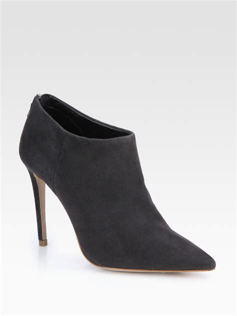 elie tahari suede ankle boots in gray grey lyst