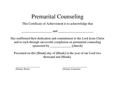 Marriage Counseling Certificate Of Completion Template Free Premarital Counseling Certificate Of Completion Template