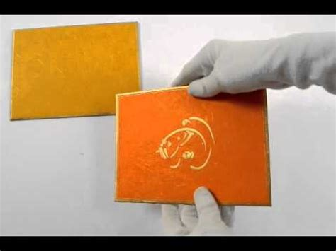 Handmade Indian Wedding Cards - d 128 orange color handmade paper hindu cards indian