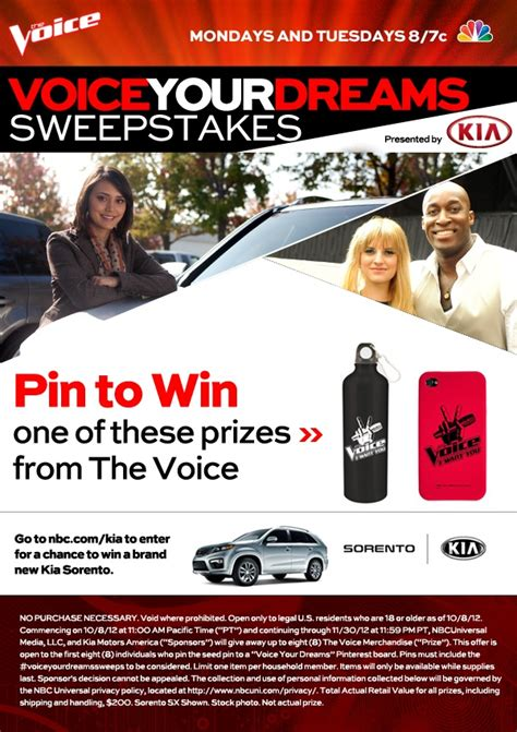 Kia Giveaway - 17 best images about enter the kia sorento voice your dreams sweepstakes on nbc com on