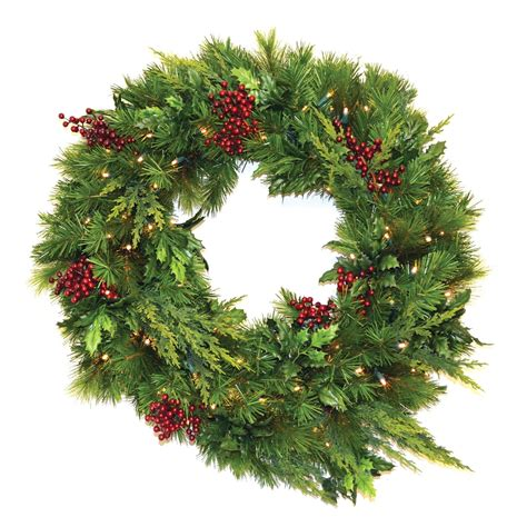 30 in estate pre lit led wreath battery operated