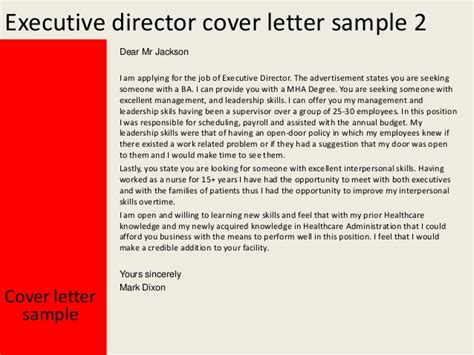 Cover Letter For Executive Director executive director cover letter