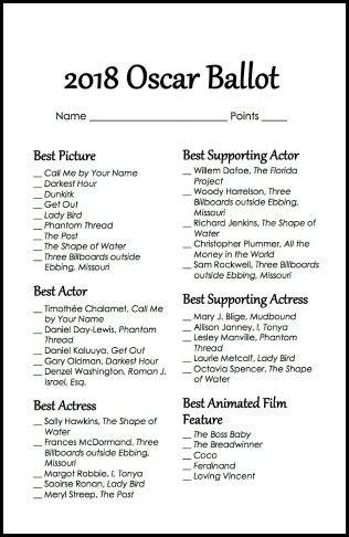 Printable Oscar Nominations 2018