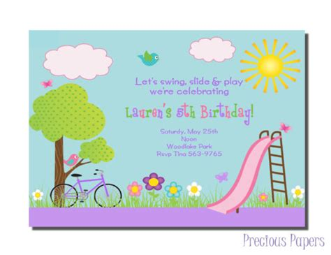 swings and things birthday party park party invitations park birthday party invitations