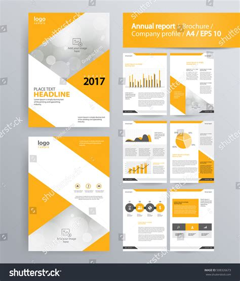 layout corporate brochure page layout company profile annual report stock vector