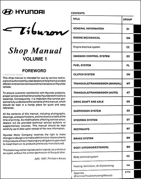 book repair manual 1998 hyundai tiburon auto manual 1998 hyundai tiburon repair shop manual original 2 vol set