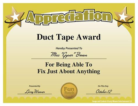 duct tape award is ready to down load and use visual