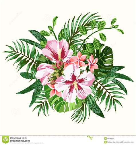 bouquet of tropical flowers stock vector illustration